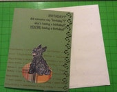 Handmade Scotty birthday card w/ Scottish terrier on Scotch plaid dog bed.  Wish the Scottie lover in your life a happy birthday