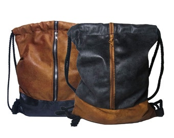 Elegant backpack bag textile leather brown black with ZIPPER