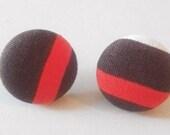Striped fabric earrings , Fabric button earrings , Orange & Brown ,  Handmade earrings
