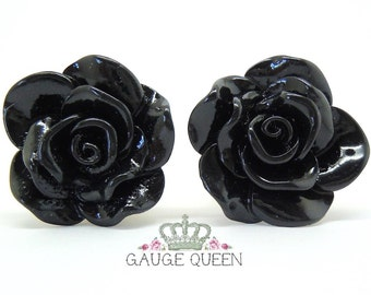 "Black Rose Plugs / Gauges. 4g / 5mm, 2g / 6.5mm, 0g / 8mm, 00g / 10mm, 1/2"" / 12mm, 9/16"" / 14mm"