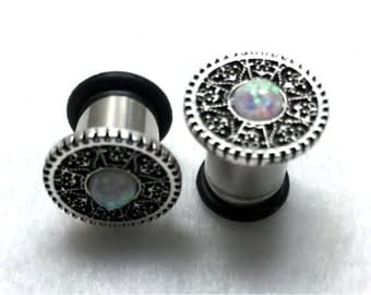 316L Surgical Steel Steampunk Intricate Gear with Opal Plug