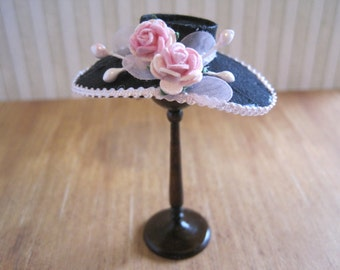 12th Scale Dollhouse Miniature Ladies Hat in Black and Pink Silk