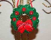 Hand Stitched 3D Felt Wreath Ornament
