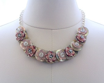 Mother of Pearl Button Necklace Pink Silver Floral Button Jewelry Romantic Frilly Vintage Crystal Chain Jewelry Nickel Free Jewellery