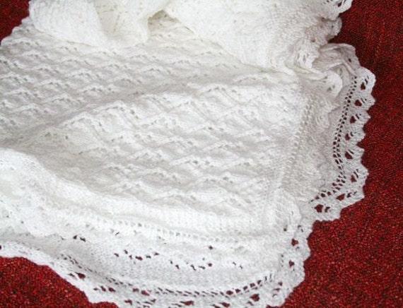 Christening Blanket Knitting Pattern : White Christening blanket Hand knit baby blanket Baptism