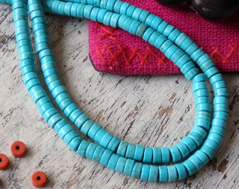Turquoise howlite heishi beads - strand, howlite beads, 6x3mm turquoise beads, smooth cut turquoise howlite heishi, 6mm howlite rondelles