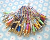 Cell Phone Strap Lanyard--100 pcs 70x5mmMixed Colors Lariat Lanyard Mobile Cell Phone Strap Chains Connectors With  Metal Top