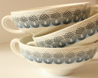 Wedgwood Persephone Soup Bowls by Eric Ravilious Blue and White