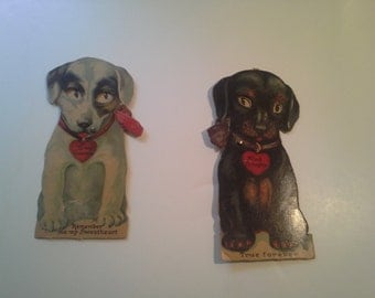 Vintage Valentines Day Cards  .. cute puppies / circa 1910's / 20's   mechanical cards eyes move