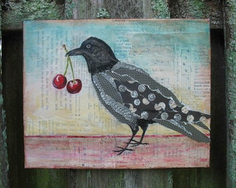Raven With Cherries,PRINT of original Art, bird art, bird with cherries art work, mixed media art
