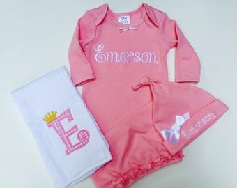 Newborn Girl Take Home -Outfit Monogram yLayette Gown - Layette Gown and Personalized Hat New Baby Girl Gift