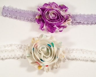 Lavender Tattered Rose headband set, Flower Stretch Headband, photo prop headband, toddler flower headband, baby shower gift