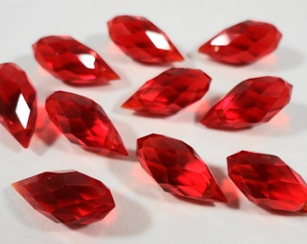 Briolette Crystal Beads 12x6mm (6x12mm) Cherry Red Chinese Crystal Glass Teardrop Drop Crystal Beads for Jewelry Making 10 Loose Beads