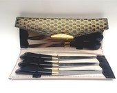 Glo Hill Steakmaster gold plated stainless steak knives, serrated