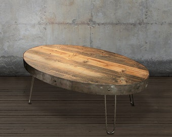 Reclaimed Wood Coffee Table, Oval Table with Drawer