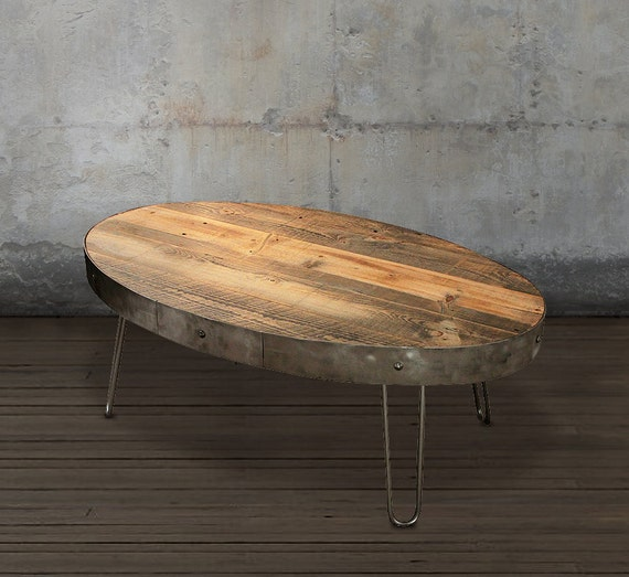 Etsy Wood Oval Coffee Table: Reclaimed Wood Coffee Table Oval Table With Drawer By