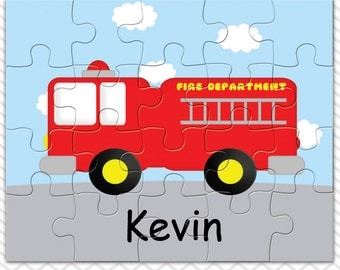 Fire Truck Personalized Puzzle, Personalized Fire Truck Puzzle, Personalized Kids Puzzle