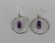 Silver Hoop Amethyst Earrings