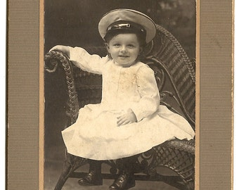 SaLe-Navy Hat on Child-Cute Pose-1910 Cabinet Card Photo
