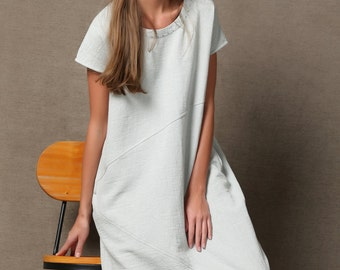Loose-Fitting Linen Dress - Powder Blue Short Sleeve Round Neck Midi Length with Detail Stitching C533