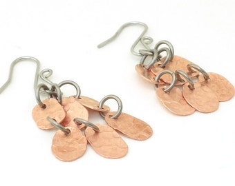 Rustic Hammered Copper Earrings