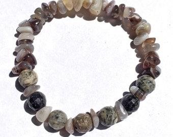 Banded Agate and Spiderweb Jasper Gemstone Bracelet