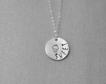 SALE - Sweet (3/4 inch Hand Stamped Sterling Silver) Necklace
