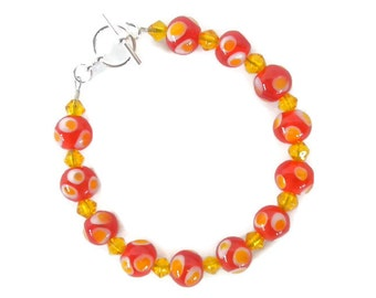 Lampwork Beaded Bracelet in Red, Yellow and White with Yellow Spacer Beads