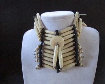 Antique White BREASTPLATE Choker Buffalo Bone Geronimo Regalia Pow Wow Indian