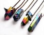 Rainbow Aura Quartz | Raw Crystal Necklace | Titanium Quartz | Sterling Silver, Silver-Plated, Antiqued Brass, Antiqued Copper, Gunmetal