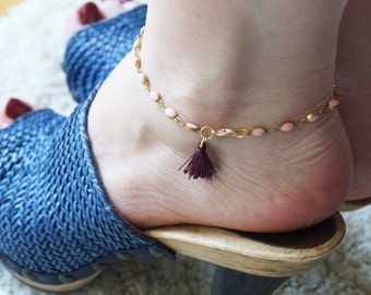 SALMON BEACH ANKLET bracelet, purple tassel, gold plated, sexy summer beach jewelry, hippie boho jewelry, gift idea, mother daughter jewelry