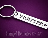 Fighter Semicolon Keychain - Hand Stamped Key Chain - Inspiration Jewelry - Suicide Awareness & Prevention - Mental Health Semi Colon