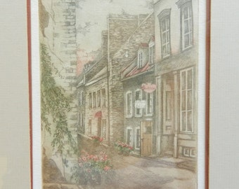Nicole Ouellet Artwork - Petit Champlain - Limited edition print - 196/200 - 1982 - 13 x 16 Professionally Framed