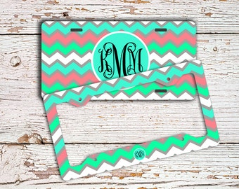 Monogram chevron license plate or frame, Chevron seat belt cover, Mint green aqua blue, Customized car tag, Chevron bicycle license  (9984)