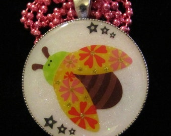 Ladybug Necklace-Ladybird Jewelry-Handmade Resin Pendant Jewelry