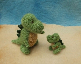Mummy and baby dinosaurs knitting pattern PDF