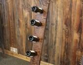 Wine Rack - Riddling Rack - Reclaimed Wood 6 bottle wine rack - Wall Wine Rack - Wine Storage