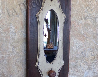 Reclaimed Wood Accent Mirror - Rustic Wall decor - Mirror with knob