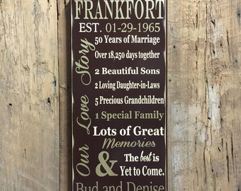 50th Anniversary Sign, 50th Anniversary Gift, Parents Anniversary Gift, 25th Anniversary Gift, Custom Wood Sign, 50 Anniversary, Family Sign