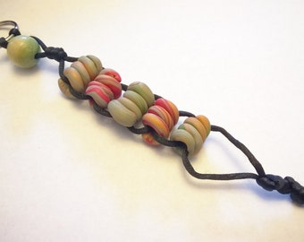 OOAK Stress Relief Keychain: Handmade Polymer Clay Beads Red, Copper Color, Moss Green, Grey on Black Silky Cord