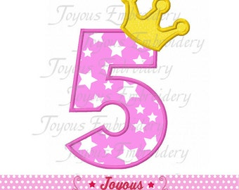 Instant Download Crown Number 5  Applique Machine Embroidery Design NO:1410