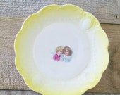 Antique Portrait Plate Semi Porcelain White and Yellow Owen China Co Minerva Ohio Sisters Little girls