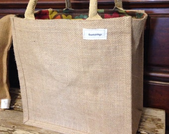 Burlap wine tote bag,  wine tote bag,  pucnic tote bag