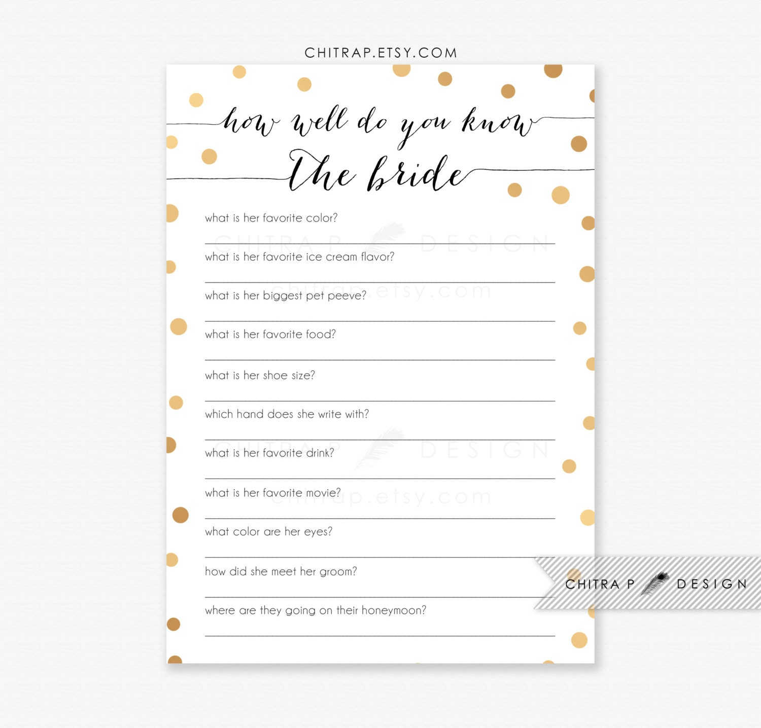 Gold Bridal Shower Game Printed Or Printable How Well Do