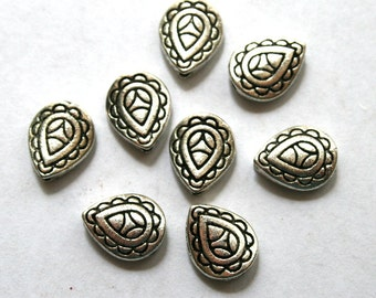 8 Lovely Antique Silver Teardrop Beads