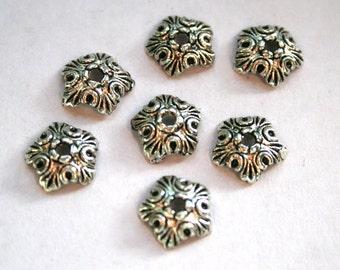 10 Antique Silver Leaf Bead Caps