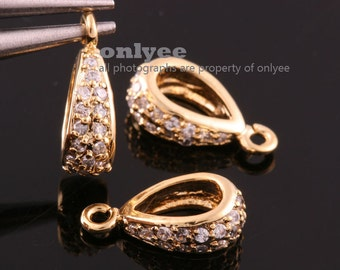 2pcs-13.5mmX4.5mmBright Gold plated Brass Cubic zirconia Pendant Clasp,Bail Connector(K030G)