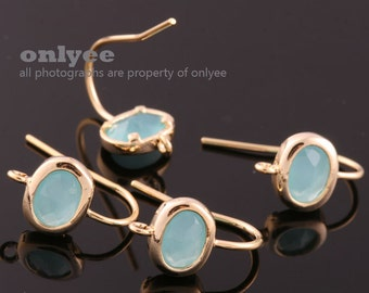 1pair/2pcs-12mmX7mm Gold plated Brass,Faceted Oval Glass Earring,setting hook earrings-Mint(M383G-F)