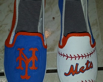 New York Mets Fan Art Tribute Hand Painted Canvas Shoes Order your own size custom