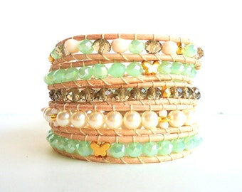 Pistachio Green, Ivory and Gold 5 Wrap Leather Bracelet/ pastel bracelet/ stack bracelet/ boho bracelet/ beach bracelet/ summer trends 2018